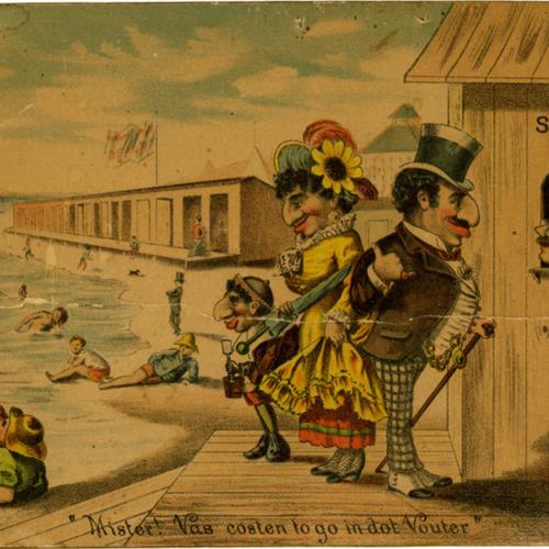Jewish Family at Beach postcard